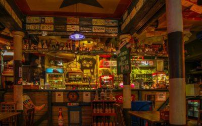 Tallinn, Estonia 02 may 2017. Night bar Texas Honky Tonk Cantina , The view on the bar