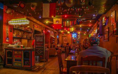 Tallinn, Estonia 02 may 2017. Night bar Texas Honky Tonk Cantina , view of tables with visitors